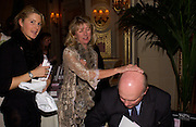 Kinvara Balfour, Lady Marsha Fitzalen-Howard, Julian Fellowes, Snobs by Julian Fellowes, the Ritz. 5 April 2004. ONE TIME USE ONLY - DO NOT ARCHIVE  © Copyright Photograph by Dafydd Jones 66 Stockwell Park Rd. London SW9 0DA Tel 020 7733 0108 www.dafjones.com