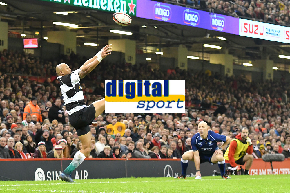 Rugby Union - 2019 / 2020 season - Wales vs. Barbarians<br /> <br /> Dillyn Leyds of the Barbarians leaps for the ball but fails to keep it in play , at The Principality (Millennium) Stadium.<br /> <br /> COLORSPORT/WINSTON BYNORTH