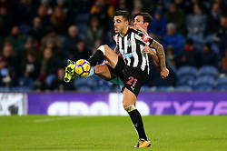 Joselu of Newcastle United beats Jack Cork of Burnley to the ball - Mandatory by-line: Robbie Stephenson/JMP - 30/10/2017 - FOOTBALL - Turf Moor - Burnley, England - Burnley v Newcastle United - Premier League
