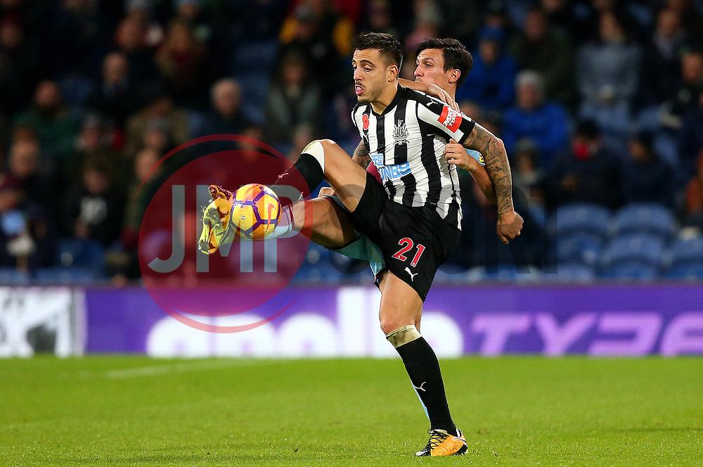 Joselu of Newcastle United beats Jack Cork of Burnley to the ball - Mandatory by-line: Robbie Stephenson/JMP - 30/10/2017 - FOOTBALL - Turf Moor - Burnley, England - Burnley v Newcastle United - Premier League