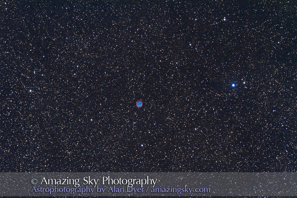NGC 6781planetary nebula in Aquila, taken Sept 11, 2010, with 130mm AP refractor at f/6 and with 6x7 field flattener, and Canon 7D camera at ISO800 for stack of 5 x 10 minute exposures, median combined.