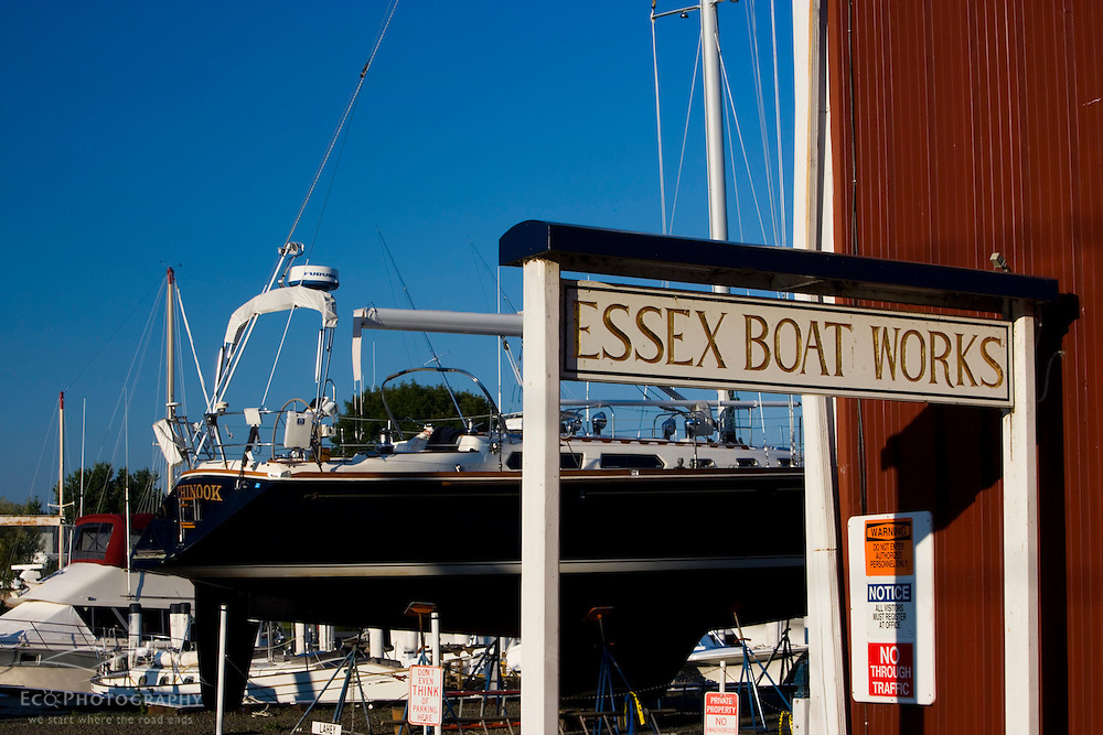 The Essex Boat Works in historic Essex, Connecticut.