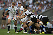 Twickenham, England, 27th May 2018. Quilter Cup, Rugby,Baa Baa's Greig LAIDLAW, passes the ball during the  England vs Barbarians, Rugy Match at the RFU. Stadium, Twickenham. UK.  <br /> <br /> © Peter Spurrier/Alamy Live News