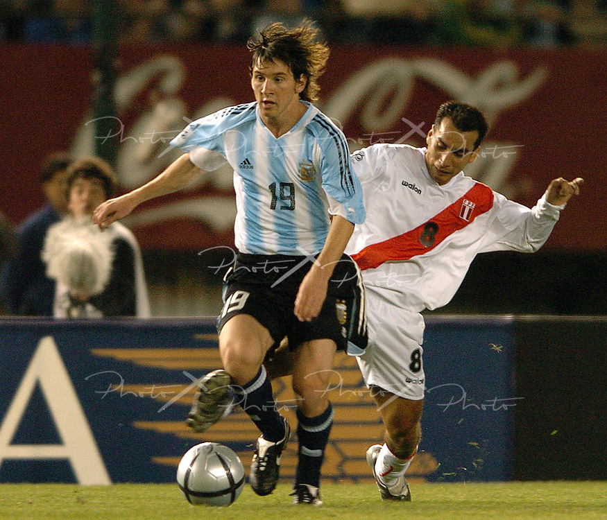 Argentina's forward Lionel Messi during their Fifa 2006 World Cup Germany Qualifying football match against Peru, in Buenos Aires, Argentina, on October 9, 2005.  Argentina won by 2-0.   (Photo by Alejandro Pagni/PHOTOXPHOTO)