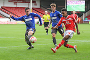 Walsall's Rico Henry crosses the ball during the Sky Bet League 1 match between Walsall and Bury at the Banks's Stadium, Walsall, England on 5 September 2015. Photo by Shane Healey.
