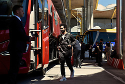 MADRID, SPAIN - Friday, May 31, 2019: Liverpool's Mohamed Salah arrives at Adolfo Suarez Madrid-Barajas Airport ahead of the UEFA Champions League Final match between Tottenham Hotspur FC and Liverpool FC at the Estadio Metropolitano. (Pic by Handout/UEFA)