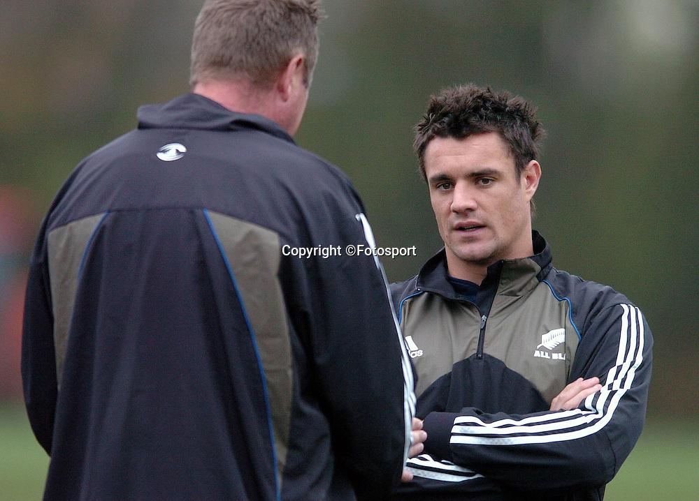 New Zealand fly half Dan Carter chats to skills coach Mick Byrne <br /> New Zealand rugby union team, training session pre-Scotland, Edinburgh, Scotland, Thursday 6th November 2008.<br /> ***Mandatory credit: Fotosport/David Gibson***