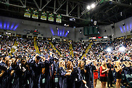 Some students toss their caps at the end of the 29th annual Kettering Fairmont High School commencement at the Nutter Center in Fairborn, Thursday, May 31, 2012.