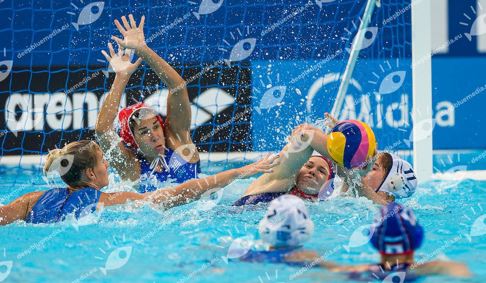 GRE vs RUS<br /> Greece (White) - Russia (Blue)<br /> 5 th - 8th<br /> PLEVRITOU Eleftheria GRE<br /> SIMANOVICH Anastasia RUS<br /> Day 13 05/08/2015<br /> Waterpolo Women<br /> XVI FINA World Championships Aquatics<br /> Kazan Tatarstan RUS July 24 - Aug. 9 2015 <br /> Photo Pasquale Mesiano/Deepbluemedia/Insidefoto