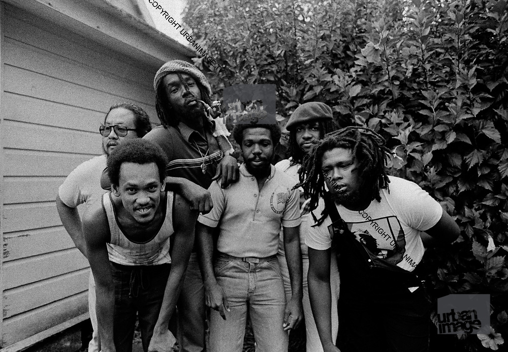 Peter Tosh with band including Sly and Robbie  during the Don't Look Back video shoot - Strawberry Hill Jamaica 1978.
