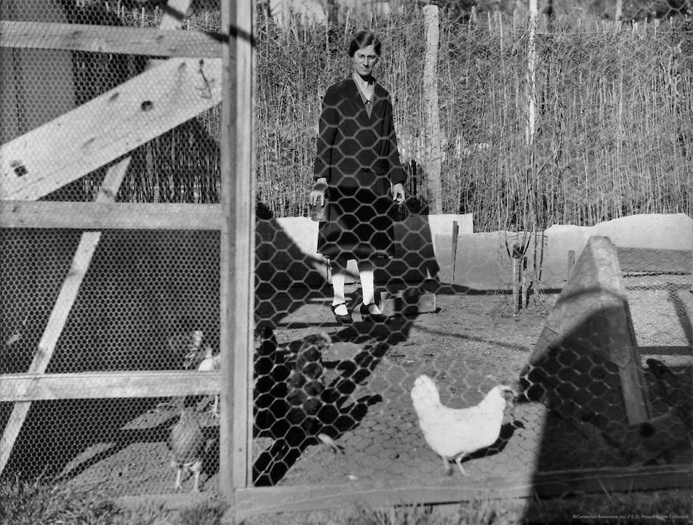 "Woman In Chicken Coop, ""Working Man's Home"" Series,  Australia, 1930"