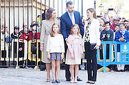 King Felipe VI of Spain, Queen Letizia of Spain, Princess Leonor, Princess Sofia and  Queen Sofia of Spain attended the Easter Mass at the Cathedral of Palma de Mallorca on April 5, 2015 in Palma de Mallorca, Spain.