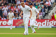 Ben Stokes celebrates the wicket of Adam Voges during 2nd day of the Investec Ashes Test match between England and Australia at Trent Bridge, Nottingham, United Kingdom on 7 August 2015. Photo by Shane Healey.