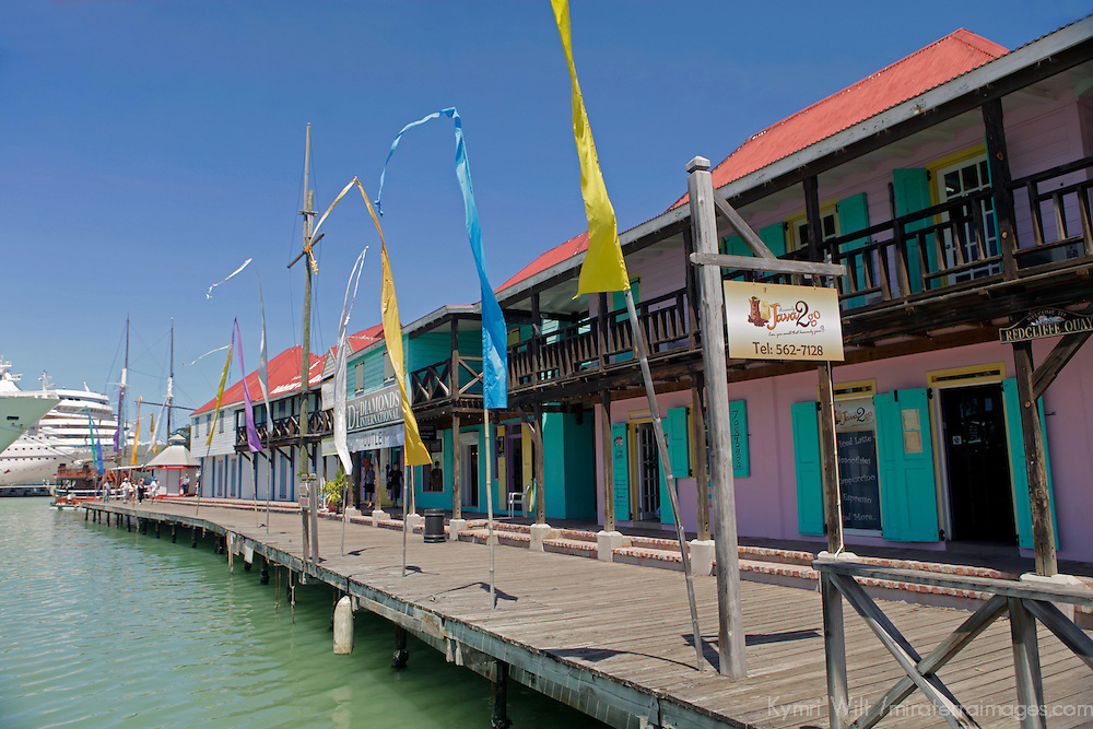 Americas, Caribbean, Antigua and Barbuda. Boardwalk waterfront of the cruise port at St. John's, Antigua.