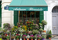 A large display of colourful plants and flowers outside a florist. Paris, France, Europe