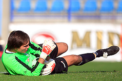 Goalkeeper Ales Luk (99) of Nafta at 12th Round of PrvaLiga Telekom Slovenije between NK Primorje vs NK Nafta Lendava, on October 5, 2008, in Town stadium in Ajdovscina. Nafta won the match 2:1. (Photo by Vid Ponikvar / Sportal Images)