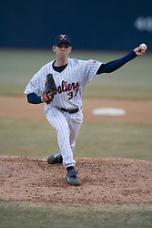 Virginia Cavaliers pitcher Brad Grove (37) pitches against Coppin State.  The Virginia Cavaliers Baseball Team defeated the Coppin State Eagles 12-0 at Davenport Field in Charlottesville, VA on February 21, 2007.