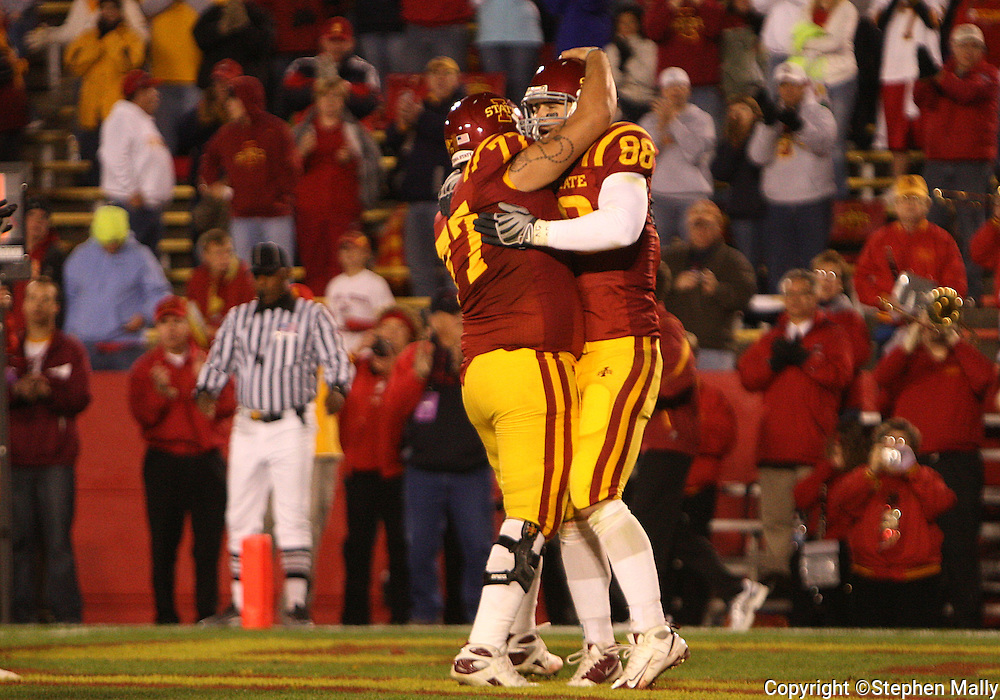 25 OCTOBER 2008: Iowa State tight end Collin Franklin (88) celebrates a touchdown pass in the second half of an NCAA college football game between Iowa State and Texas A&M, at Jack Trice Stadium in Ames, Iowa on Saturday Oct. 25, 2008. Texas A&M beat Iowa State 49-35.