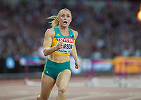 Athletics - 2017 IAAF London World Athletics Championships - Day Nine, Evening Session<br /> <br /> Womens 100m Hurdle Final<br /> <br /> Sally Pearson (Australia) crosses the line and celebrates her victory  at the London Stadium<br /> <br /> COLORSPORT/DANIEL BEARHAM