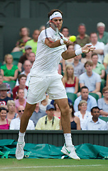 LONDON, ENGLAND - Monday, June 27, 2011: Juan Martin Del Potro (ARG) in action during the Gentlemen's Singles 4th Round match on day seven of the Wimbledon Lawn Tennis Championships at the All England Lawn Tennis and Croquet Club. (Pic by David Rawcliffe/Propaganda)