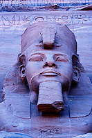 Close up of sculpture on Great Temple of Ramses II Abu Simbel UNESCO World Heritage Site Egypt
