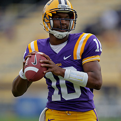 19 September 2009: LSU Tigers quarterback Russell Shepard (10) in warm ups before a game between the University of Louisiana Lafayette Ragin' Cajuns and the  LSU Tigers at Tiger Stadium in Baton Rouge, Louisiana.