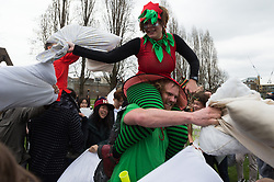© Licensed to London News Pictures. 07/04/2018. London, UK. People pillow-fighting on World Pillow Fight Day in Allen Gardens London. Photo credit: Ray Tang/LNP