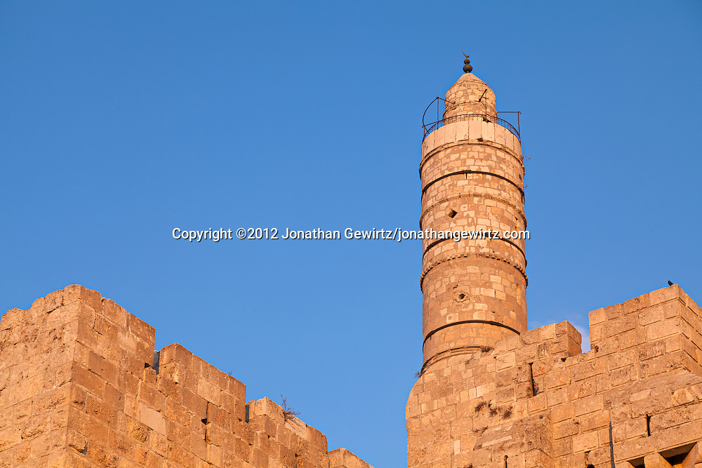 The minaret at the Citadel of David in Jerusalem's Old City. WATERMARKS WILL NOT APPEAR ON PRINTS OR LICENSED IMAGES.
