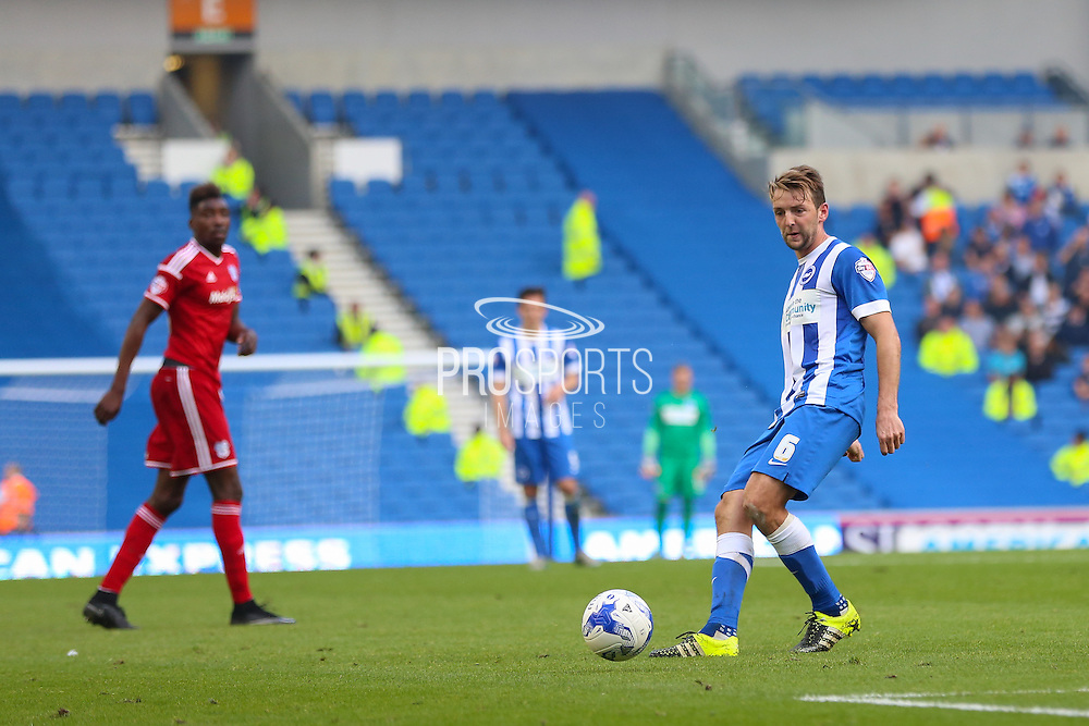 Brighton central midfielder, Dale Stephens on the ball during the Sky Bet Championship match between Brighton and Hove Albion and Cardiff City at the American Express Community Stadium, Brighton and Hove, England on 3 October 2015. Photo by Phil Duncan.