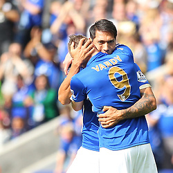 Leicester City's Leonardo Ulloa and Leicester City's Jamie Vardy celebrate during the Barclays Premiership match between Leicester City FC and Manchester United FC, at the King Power Stadium, Leicester, 21st September 2014 © Phil Duncan | SportPix.org.uk