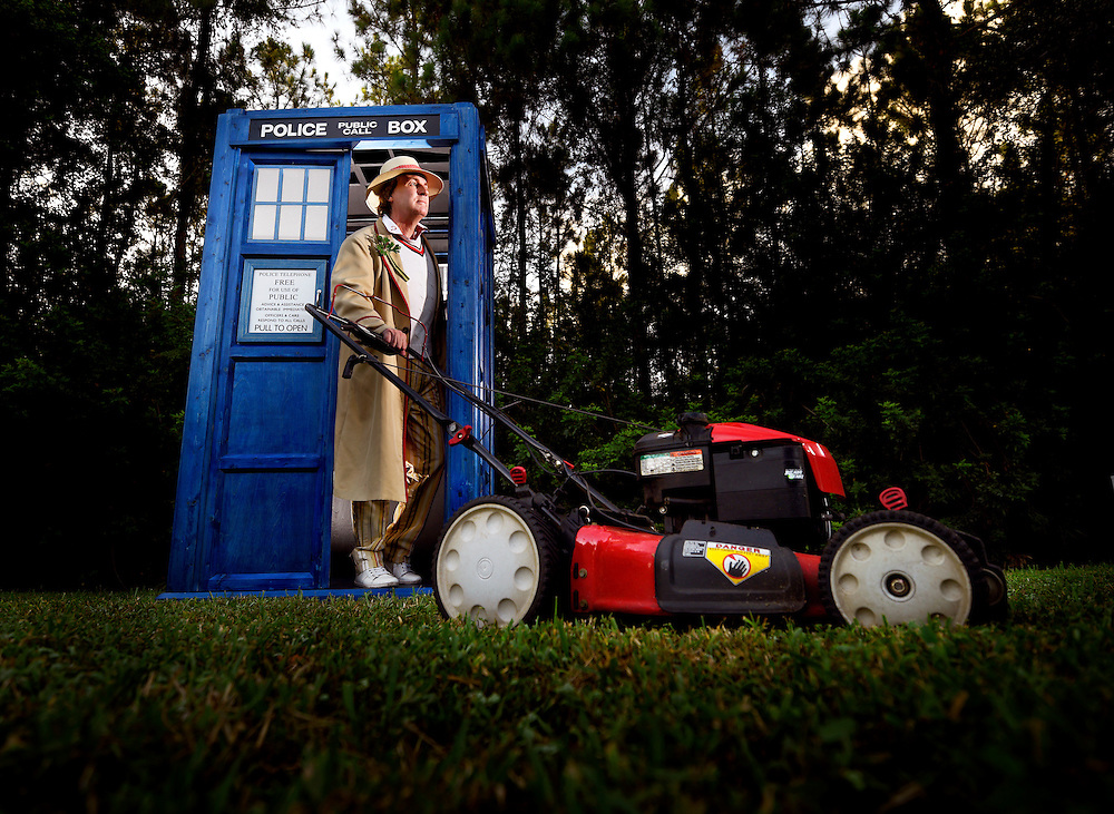 Leo Martin playing the role of Doctor Who poses for a photograph Tuesday, July 14, 2015 in the Westchase area of Tampa.  CHRIS URSO/STAFF