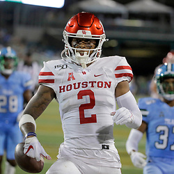 Sep 19, 2019; New Orleans, LA, USA; Houston Cougars wide receiver Keith Corbin (2) scores against the Tulane Green Wave during the first half at Yulman Stadium. Mandatory Credit: Derick E. Hingle-USA TODAY Sports