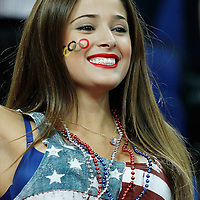 12 August 2012: A US fan is seen during 107-100 Team USA victory over Team Spain, during the men's Gold Medal Game, at the North Greenwich Arena, in London, Great Britain.