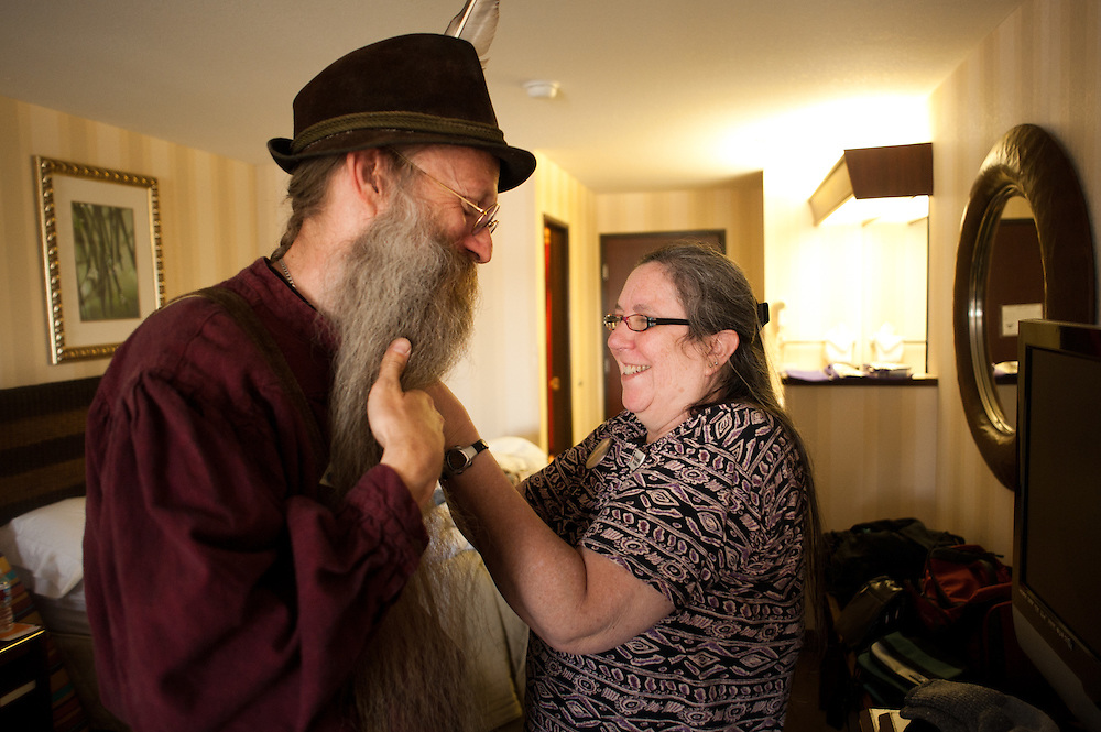Rita Bielefeldt helps her husband Aarne prepare in their hotel room in Bend, Oregon on Saturday, June 5, 2010 at the Beard Team USA National Beard and Mustache Championships.