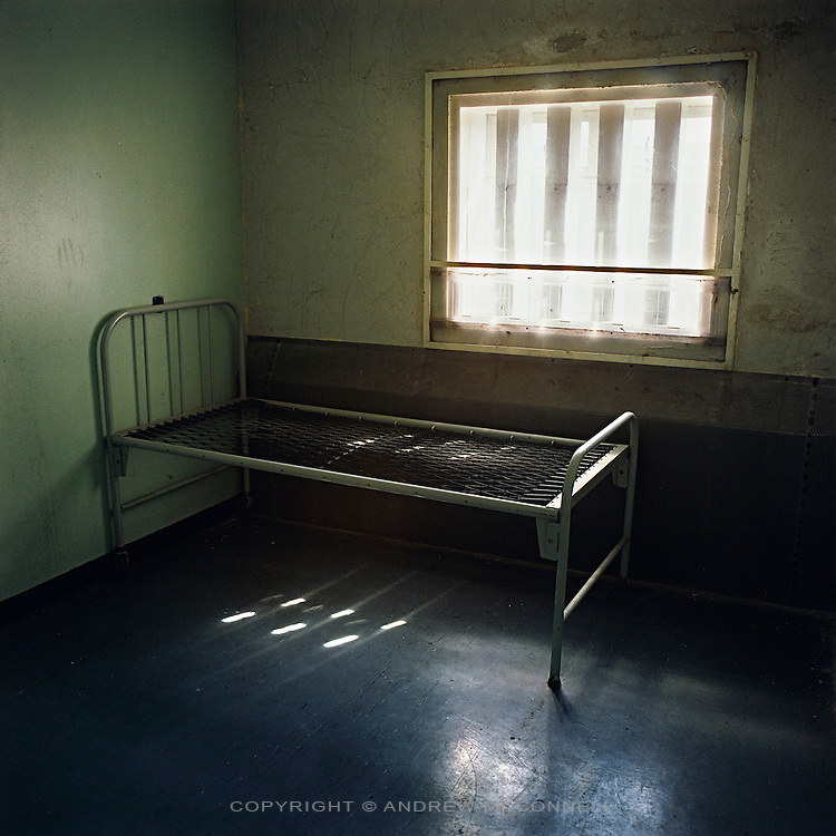Cell 8 of the Maze Prison Hospital in which IRA member Bobby Sands died after 66 days on Hunger Strike. Pictured on Tuesday, July 18, 2006. HM Maze Prison, also known as Long Kesh and the H-Blocks, held some of the most dangerous men in Europe during its 30 year operation. The prison closed in September 2000 after 428 prisoners had been released under the Good Friday Agreement. There are now plans to turn the abandoned site into a national football stadium.