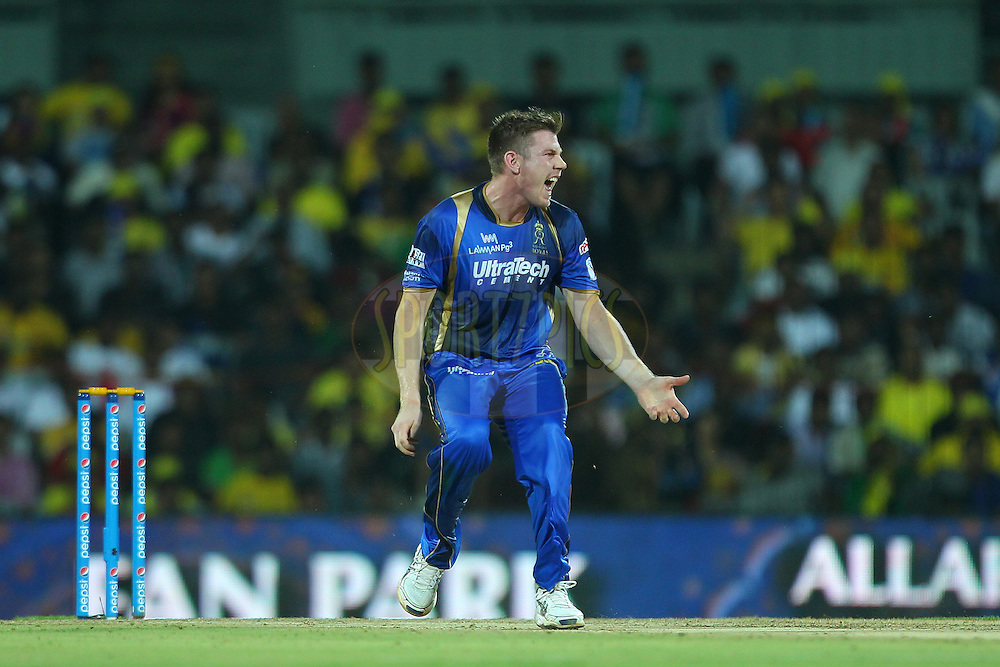 James Faulkner of the Rajasthan Royals  screams for the catch to be taken during match 47 of the Pepsi IPL 2015 (Indian Premier League) between The Chennai Superkings and The Rajasthan Royals held at the M. A. Chidambaram Stadium, Chennai Stadium in Chennai, India on the 10th May 2015.<br /> <br /> Photo by:  Ron Gaunt / SPORTZPICS / IPL