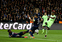 Fernandinho of Manchester City has a shot that deflects into the goal off Thiago Silva of Paris Saint-Germain - Mandatory by-line: Robbie Stephenson/JMP - 06/04/2016 - FOOTBALL - Parc des Princes - Paris,  - Paris Saint-Germain v Manchester City - UEFA Champions League Quarter Finals First Leg