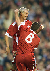 LIVERPOOL, ENGLAND - Thursday, May 14, 2009: Liverpool Legends' Ian Rush celebrates scoring the opening goal against All Stars with John Aldridge during the Hillsborough Memorial Charity Game at Anfield. (Photo by David Rawcliffe/Propaganda)