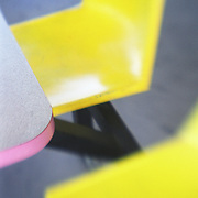 50's era yellow, fiberglass, outdoor chairs and pink table