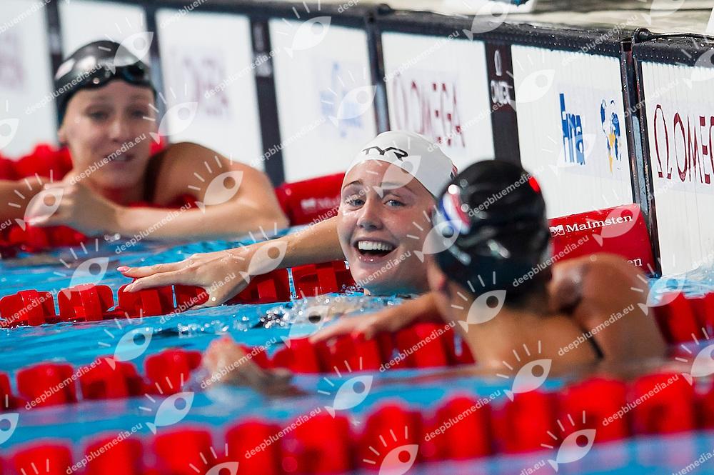 OTTESEN GRAY Jeanette DEN gold medal, KROMOWIDJOJO Ranomi NED bronze medal<br /> Women's 50m butterfly final<br /> 15th FINA World Aquatics Championships<br /> Palau Sant Jordi, Barcelona (Spain) 03/08/2013 <br /> &copy; Giorgio Perottino / Deepbluemedia.eu / Insidefoto