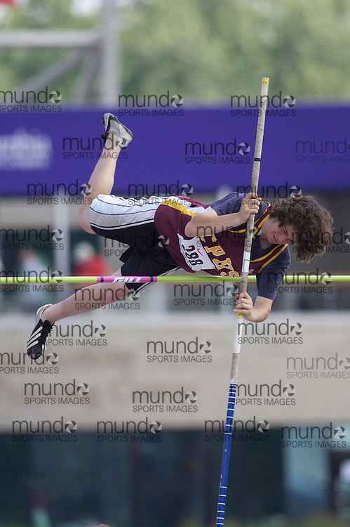 (London, Ontario}---04 June 2010) Riley Drummond of Carleton Place- Carleton Place competing in the pole vault at the 2010 OFSAA Ontario High School Track and Field Championships. Photograph copyright Laura Barclay / Mundo Sport Images, 2010.