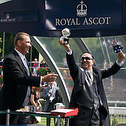 Sir Matthew Pinsent presents Scenic Blast owner Elio Galante with his trophy after Australian horse Scenic Blast won The King's Stand Stakes, The British leg of the global sprint challenge, at Royal Ascot 2009, Ascot, UK, on Tuesday, June 17, 2009. Photo Tim Clayton.