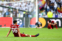 Trent Alexander-Arnold, Dejan Lovren and Loris Karius of Liverpool cut dejected figures - Mandatory by-line: Robbie Stephenson/JMP - 26/05/2018 - FOOTBALL - Olympic Stadium - Kiev,  - Real Madrid v Liverpool - UEFA Champions League Final