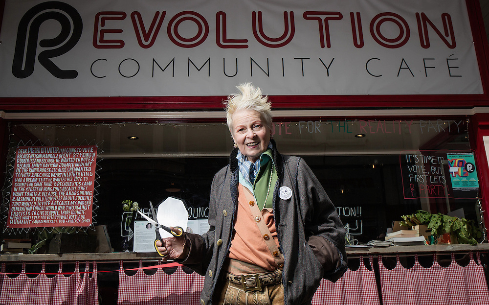 Dame Vivienne Westwood opens &quot;The Evolution Caf&eacute;,&quot; by We are the Reality Party E on April 30. 2015.<br /> <br /> Dame Vivienne Westwood will be launching the new concept &ndash; The Evolution Caf&eacute;, by We are the Reality Party, whereby in return for assistance and sharing the work load &ndash; any family can ensure they are fed with nutritious, organic food grown on a local allotment.<br /> <br />  <br /> <br /> &ldquo;Good food doesn&rsquo;t need to be the preserve of the rich,&rdquo; says Dame Vivienne Westwood.<br /> <br />  <br /> <br /> &ldquo;Nor do people need to feel that no one is looking out for them and they simply can&rsquo;t afford to put a good meal on the table&rdquo;.<br /> <br />  <br /> <br /> &ldquo;The Evolution Caf&eacute; is the Good Life. Not what David Cameron has tried to con Britons into believing, where people have their welfare cut and go starving&rdquo;.<br /> <br />  <br /> <br /> Dame Vivienne Westwood&rsquo;s son Joe Corr&eacute;, is behind the concept. Corre has backed the Reality Party&rsquo;s campaign nationally and is financing the Evolution Caf&eacute; concept.<br /> <br />  <br /> <br /> He believes the Community Caf&eacute; concept can be rolled out to other areas, with Thanet South acting as a model.<br /> <br />  <br /> <br /> The Evolution Caf&eacute; is the first Community Caf&eacute; in the area, adhering to Happy Monday&rsquo;s Bez&rsquo;s philosophies of Perma Culture, or &lsquo;grow it and eat it and then grow it again&rsquo;.<br /> <br />  <br /> <br /> According to Dame Vivienne Westwood: &ldquo;Ramsgate, part of Thanet South, is a place that has been preyed upon by UKIP because they believe that problems can be explained away by pointing fingers at others&rdquo;.<br /> <br />  <br /> <br /> &ldquo;The reality is community&rsquo;s like Ramsgate in Thanet South, need to look to each other for support and help&rdquo;.<br /> <br />  <br /> <br /> &ldquo;The Evolution caf&eacute; is a fantastic conc
