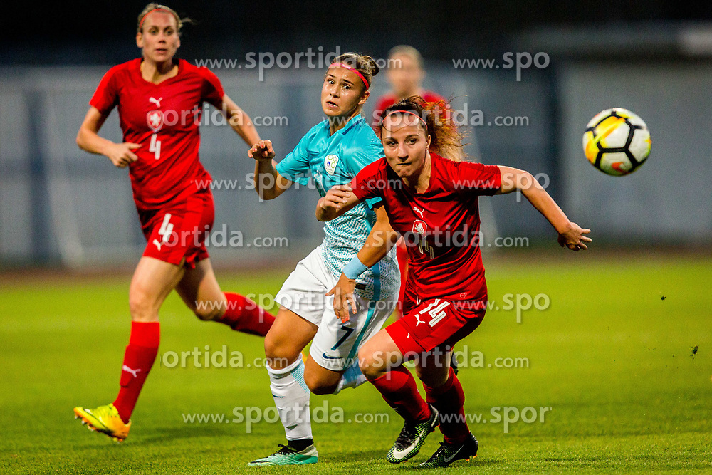 Ana Milovic of Slovenia and Petra Vystejnova of Czech Republic during football match between Slovenia and Czech Republic in Womens Qualifications for World Championship 2019, on October 20, 2017 in Stadion Domzale, Domzale, Slovenia. Photo by Ziga Zupan / Sportida