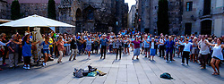 Catalans dancing a traditional dance  in the Palau de la Generalitat de Catalunya near Barcelona Cathedral<br /> <br /> (c) Andrew Wilson | Edinburgh Elite media