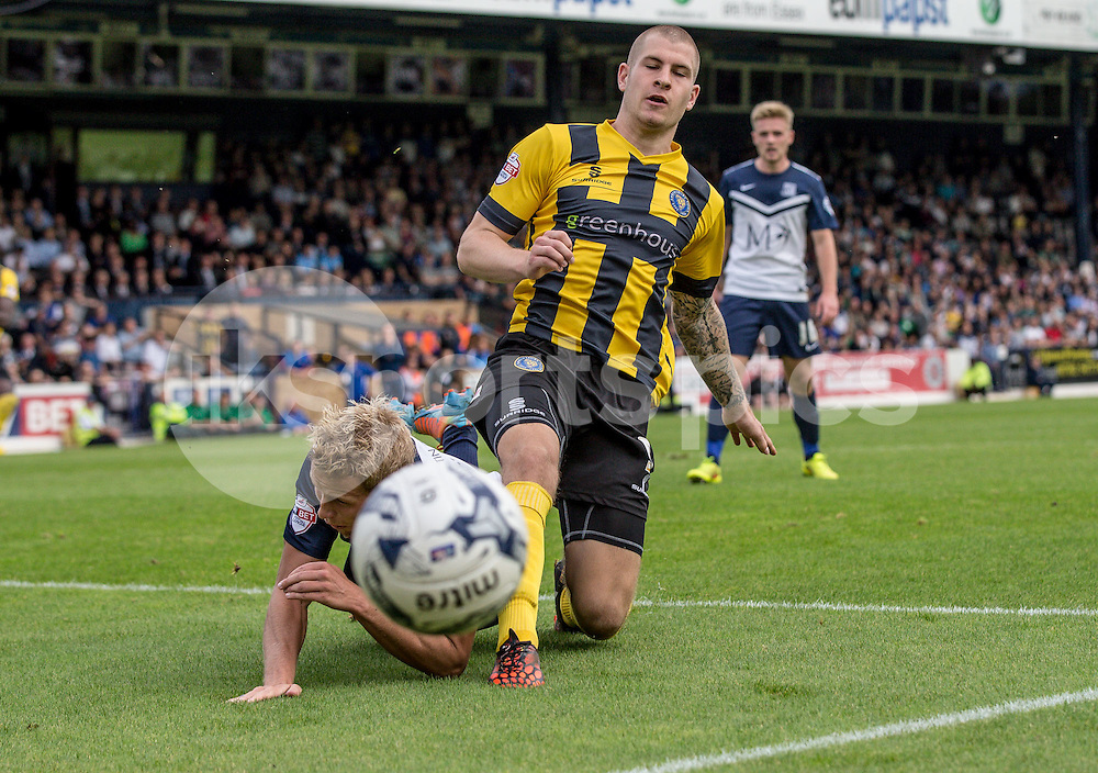 James Collins of Shrewsbury Town goes close during the Sky Bet League 2 match between Southend United and Shrewsbury Town at Roots Hall, Southend, England on 27 September 2014. Photo by Liam McAvoy.