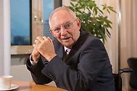 17 DEC 2014, BERLIN/GERMANY:<br /> Wolfgang Schaeuble, CDU, Bundesfinanzminister, waehrend einem Interview, in seinem Buero, Bundesministerium der Finanzen<br /> IMAGE: 20141217-01-010<br /> KEYWORDS: Wolfgang Schäuble
