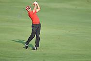 Golfer Sergo Garcia swings on the 10th hole at the PGA FedEx St. Jude Classic at TPC Southwind in Memphis, Tenn. on Thursday, June 9, 2011.