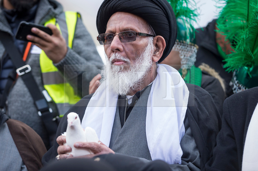 © Licensed to London News Pictures. 04/11/2018. LONDON, UK. A faith leader holds a white dove ahead of a multi-faith release of white doves for world peace, as hundreds of members of the Muslim community gather by Marble Arch to take part in the Arbaeen Procession.   Photo credit: Stephen Chung/LNP